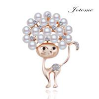 Wholesale China Coat Designs - 100PCS Lot 2017 China Wholesale Newest design Fashion Gold Crystal Rhinestone Diamond Pearl Cat Animal Coat Brooch pin