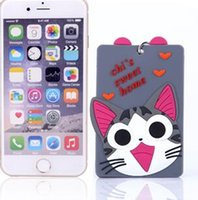 Wholesale Cute Korean Cards - Silicone Card Set for Students Ladies, SOFT Cute cartoon Keychain slim Card Holder protector