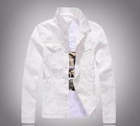 Wholesale Korean Men Clothing Coat - New Korean Solid Color Slim Fit Long Sleeve Men's Casual White Denim Jacket Man Coat Windbreaker Brand Clothing Outerwear white