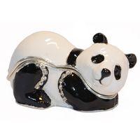 miniatur sammlerstück großhandel-Kristall bejeweled Panda Trinket Schmuckschatulle für Ring Halskette Tier Miniatur Figur Sammlerstücke Geschenke