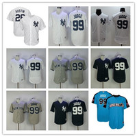 Wholesale Grey Pinstripe - 99 Aaron Judge Jersey 2017 New York Yankees Men 26 Tyler Austin Baseball Jerseys Home White Pinstripe Road Grey Blue NY FlexBase Shirts