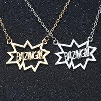 Wholesale Bigbang Necklace - Wholesale- The BigBang Theory Necklace BAZINGA TBBT Sheldon Cooper Leonard Hofstadter Silver Gold Fashion Pendant Movie Jewelry Wholesale