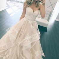 Wholesale Sweetheart Lace Appliqued - Simple Elegant Sweetheart A Line Beach Wedding Dresses 2017 Lace Appliqued Tulle Tiered Skirts Bridal Gowns With Crystal Sash Vintage Gowns