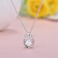 Wholesale Heart Crown Pendant 925 - 925 Silver Heart Necklace Jewelry crown smart female Korean explosion models crown pendant short chain wholesale clavicle