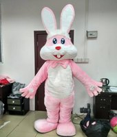 Wholesale Adult Mascot Costume Bunny - free shipping with one mini fan inside the head furry pink bunny rabbit mascot costumes for adult for easter holiday