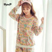 Wholesale Type Sleepwear - Wholesale- 6 Types Autumn&Winter Pajama Sets Women 2016 Cartoon Pijamas Plus Size Home Service 2 Pieces Pijama Suit Ladies Sleepwear M-XL