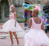 vestido corto vestido de bola corsé al por mayor-Pink Short Semi Prom Vestidos de regreso a casa vestido de fiesta rebordear corsé Volver más tamaño Mini Tulle 2017 barato 8vo grado Junior Party cóctel vestido