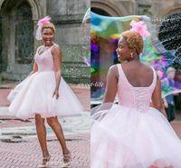 vestido curto vestido de baile corset venda por atacado-Rosa curto semi Prom Homecoming vestidos vestido de baile Beading espartilho Voltar Plus Size Mini Tule 2017 Barato 8ª série Junior Party Cocktail Dress
