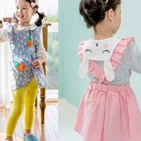 Wholesale Sleeveless Shirt Dress Korean - Korean New Baby Girls Dress Ruffle Cartoon Bird Suspender Dresses Cute Stripe Bunny Long Sleeve T-shirt Spring Cotton Casual Toddler Tops C3