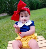 Girl bloomer band - Ins baby set Snow White Girls Outfits biag Red bowknot hair band Tops PP pants Bloomers Summer Shorts Girls Baby Clothing A614