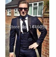 Wholesale Tuxedo Styles For Prom - Wholesale- New Classic Style Tuxedos For Men Groomsmen Men's Suit Black Lapel Navy Blue Bridegroom Wedding Prom Suits (Jacket+Pants+Vest)