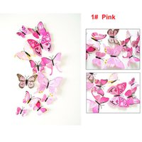 Wholesale Gadgets Chirstmas - 12pcs 3d PVC Wall Stickers Magnet Butterflies DIY Home Decor Poster Bar Bathroom Kitchen Accessories Gadgets Wall Decoration