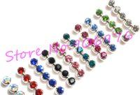 Wholesale Lip Piercing 6mm - New Eyebrow Ring Tongue Bar Lip Stud Ball Gem Fashion Body Piercing Jewelry Piercing Accessory 1 .6 *6mm 1 .2 *3mm Free Shipping