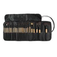 keçi saç makyaj fırçaları toptan satış-Toptan-Profesyonel 24 adet Makyaj Fırça Seti araçları Makyaj Tuvalet Seti Yün Marka Keçi saç Makyaj Fırçalar Set pinceaux maquillage