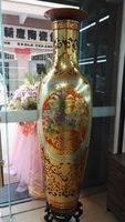 artesanías chinas de arte tradicional al por mayor-Nuevo mercado ON Jarrones de piso de estilo europeo tradicional Tallados a mano de cerámica Artes y artesanías chinas Ideas tradicionales