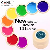 Wholesale Uv Paint Curing - 24pcs*5ml FedEx Free Shipping New Hot Sale CANNI Factory Nail Art Salon Design 141 Pure Colors UV LED Lamp Cured Nail Paint Gel Varnish