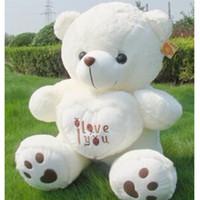 большие мягкие плюшевые медведи оптовых-Wholesale-50cm Stuffed Plush Toy Holding LOVE Heart Big Plush Teddy Bear Soft Gift For Valentine Day Birthday Girls' 2016 Wholesale MBF11