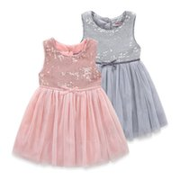 Wholesale Boutique Ball Dresses - Boutique Kids clothing Girls dresses Sleeveless Sequins Bow tulle princess dress Children clothing 2017 summer 2-5years