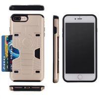 slot pour carte iphone achat en gros de-Preuve de choc en plastique TPU Slim Hybrid Armure Case Pour Apple iPhone 7 6 6 S Plus Titulaire de La Carte Slot Silicone Téléphone Retour Couvre Capa