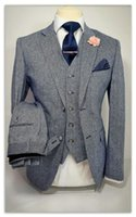 Wholesale Terno Custom Made - Gray Notch Lapel Two Buttons Men Suits Custome Homme Fashion Terno Masculino Slim Fit Blazer(Jacket+Pant+Vest+Tie+Handkerchiefs)fashion gown