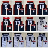 Wholesale Usa Olympic Basketball - USA Dream Team 2012 Olympic 5 Kevin Durant 6 LeBron James 11 Kevin Love Carmelo Anthony Chris Paul Williams 10 Kobe Bryant Jersey