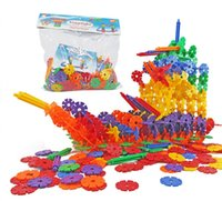 пластиковые блоки для детских игрушек оптовых-Блоки learance продажа Снежинка передач хлопья творческий пластиковый диск устанавливает строительные блоки блокировки игрушки повышения творчества детей