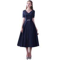 Wholesale tea length lace up back for sale - Group buy Newest Short Sleeve Tea Length Evening Dress Lace Up Back Dress Navy Blue A line Design V neck Banquet Vestido De Noche