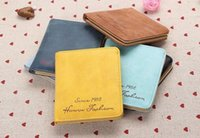 Wholesale Sweet Ladies Fashion - Candy Color PU Leather Women Short Wallet Pocket Card Clutch Cente Bifold Purse Lady Sweet Fashion Coin Holder 1988 Multicolor