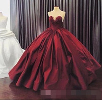 Wholesale Red Black Masquerade Dress - 2016 Burgundy Quinceanera Dresses Ball Gown Sweetheart Lace Up Floor Length Masquerade Dresses Satin Appliques Vintage Long Prom Gowns
