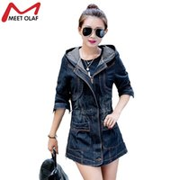 Wholesale Denim Trench Coat Jean Hoodie - Wholesale- Women Trench Coat Denim Coat Plus Size Hoodies Jean Coats Fashion Windbreaker Coats Casaco Casacos Abrigos Chaquetas WS071