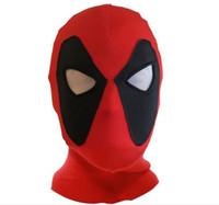 Wholesale Heroes Theme - Theme Costumes Koveinc Halloween Deadpool Mask Cosplay Costume Lycra Spandex Mask Red Adult Sizes Rib Fabrics X-Men
