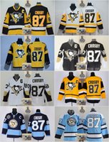 Wholesale Light Stops - Stitched NHL Pittsburgh Penguins #87 Sidney Crosby Black White Light blue Black yellow Hockey Jerseys Ice Jersey do Drop Shipping,Mix Order