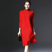 Wholesale Ladies Knee Length Sweaters - Women Sweater Dresses Loose Nice Ladies Sweater Dresses Three Colors Plus Size Sweater Knee Length Long Sleeve Women Fall Sweaters Red Dress