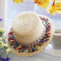 Wholesale Wholesale Small Straw Hat - Fashion New Summer Bucket Church Hats Beach Color Tassel Straw Women Straw Hat Sun Shade Travel Small Hat Women Hat