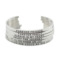 Wholesale Wholesale Bracelets Positive - 316L Stainless Steel Engraved Positive Inspirational Quote Hand Stamped Cuff Mantra Bracelet Bangle For Women Jewelry