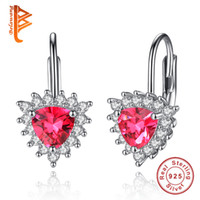 Wholesale Valentine Heart Designs - BELAWANG New Green&Red Crystal Clear CZ Heart Stud Earrings For Women Valentines Gift 925 Sterling Silver Triangle Design Earrings Wholesale