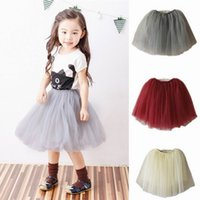 Wholesale Girl Skirt Fluffy - Retail 2017 Autumn Girls Skirts Family Matching Outfits 3 Layer Gauze Long Fluffy TUTU Mum Daughter Skirts Fall Clothes E8220
