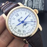 Wholesale Moon Watch Design - High Quality Top Luxury Brand Watch U0108737 Sun Moon Display Sport Design Bezel Golden Watch Montre Homme Clock Men Automatic Watch Gift