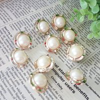 Wholesale Buttons Sewing 22mm - 20Pcs Lot Dia.22mm Resin sewing Buttons Gilt-edged pearldecorative buttons sweaters overcoat clothing accessories DL_BUR016