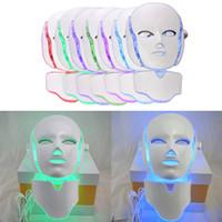 Wholesale Led Light Eye Mask - LED 7 Colors Light Microcurrent Facial Mask Machine Photon Therapy Skin Rejuvenation Facial Neck Mask Whitening Massager