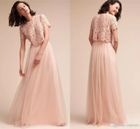 Wholesale vintage prom dresses under 100 for sale - 2017 Blush Pink Two Pieces Bridesmaid Dresses Vintage Lace Top Tulle Long Maid of Honor Prom Party Gowns