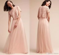 Wholesale lace top long tulle prom dress - 2017 Blush Pink Two Pieces Bridesmaid Dresses Vintage Lace Top Tulle Long Maid of Honor Prom Party Gowns