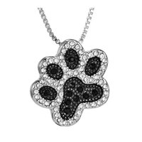 Barato Colares De Cachorro De Ouro Branco-Very Charming White Gold Plated Full AAA White / Black Rhinestone Dog's Paw Pendant Necklace para homens Mulheres Nice Gift NL-364