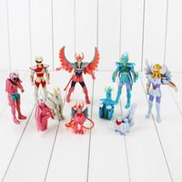Wholesale Saint Seiya Action Figures Collection - 10Pcs set Saint Seiya Shiryu Shun Hyoga Ikki with Star Sign PVC Action Figures Collection Model Toys with LED Light 6-17cm