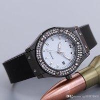 Wholesale Elegant Wrist Watch - 2018 Luxury brand classic elegant women designer Rhinestone watches black white ladies aaa watch calendar wrist watch crystal gift for girl