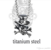 Wholesale Titanium Skull Pendants - Titanium stainless steel skull pendant hip hop charms men jewelry witcher long necklace