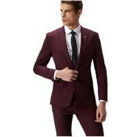 Wholesale Tuxedo Wine - Red wine groom suit men's formal fashion hot sale one button suits Slim fit men's wedding suits tuxedos(jacket+pants)