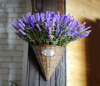 ingrosso piante di foglie viola-Zakka Style 9 Heads Fresh Purple Fake Piante Bouquet di fiori artificiali Rotolo di foglie di lavanda Giardino di erbe Decorazione floreale Disposizione dei fiori