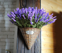 Wholesale lavender artificial flower - Zakka Style 9 Heads Fresh Purple Fake Plants Artificial Flower Bouquet Roll Lavender Leaves Grass Garden Floral Decor Flowers Arrangement