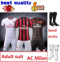 Wholesale Short Silk Socks - 2017 men kits + Socks Rugby Jerseys Top quality 17 18 AC milan JerseyS MENEZ BONAVENTURA BACCA BERTOLACCI Rugby Jerseys